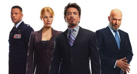 Terrance Howard, Gwyneth Paltrow, Robert Downey Jr., and Jeff Bridges in Iron Man