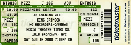 King Crimson live at The Nokia Theater, Times Square, New York City, August 16, 2008