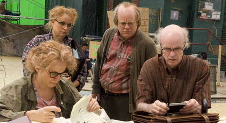 Samantha Morton, Emily Watson, Philip Seymour Hoffman and Tom Noonan in Synecdoche, New York