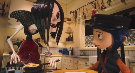Teri Hatcher and Dakota Fanning in Coraline