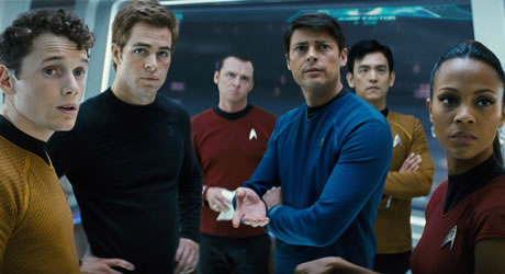 Anton Yelchin, Chris Pine, Simon Pegg, John Cho, and Zoe Saldana in Star Trek