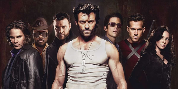 Taylor Kitsch, will.i.am, Liev Schreiber, Hugh Jackman, Tim Pocock, Ryan Reynolds, and Lynn Collins in X-Men Origins: Wolverine
