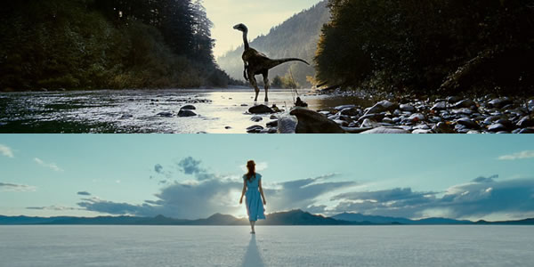 Jessica Chastain and an unnamed dinosaur extra in Terrance Malick's The Tree of Life