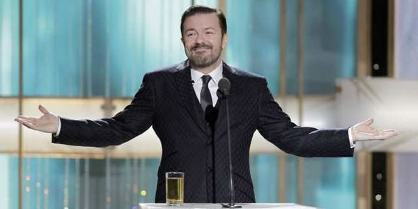 Ricky Gervais enjoys a pint at The Golden Globes