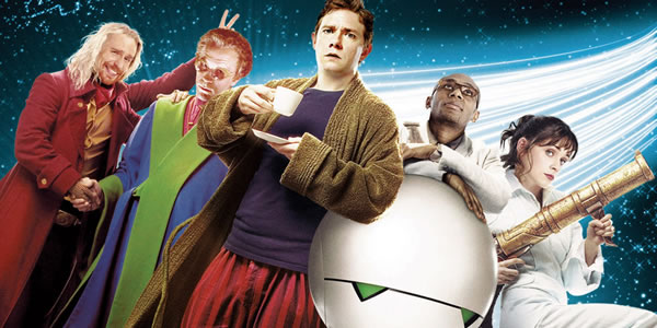 Sam Rockwell, John Malkovich, Martin Freeman, Mos Def, and Zooey Deschanel in The Hitchhiker's Guide to the Galaxy