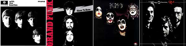 The Beatles' With the Beatles, Grand Funk Railroad's Closer to Home, Kiss' Kiss, and King Crimson's Red