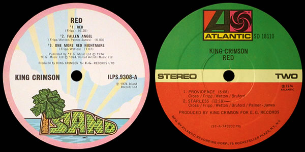 King Crimson Red LP labels