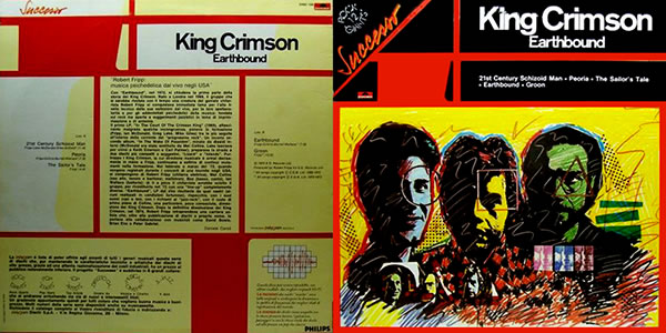 King Crimson Earthbound Italian cover