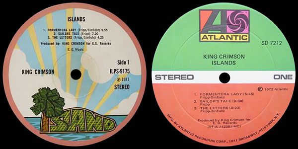 King Crimson Islands LP labels