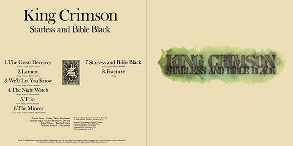 King Crimson Starless and Bible Black outer gatefold