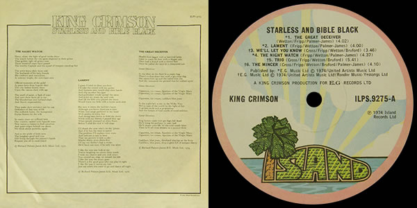 King Crimson Starless and Bible Black LP insert and label