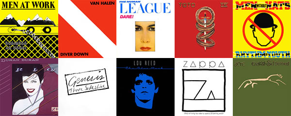 1982 album art, Men at Work, Van Halen, The Human League, Toto, Men Without Hats, Duran Duran, Genesis, Lou Reed, Frank Zappa, XTC