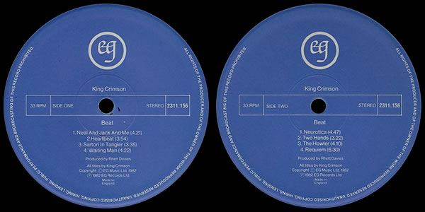 King Crimson Beat LP labels
