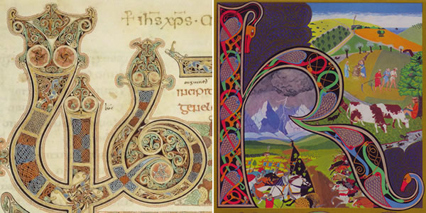Details from the Book of Kells and King Crimson's Lizard