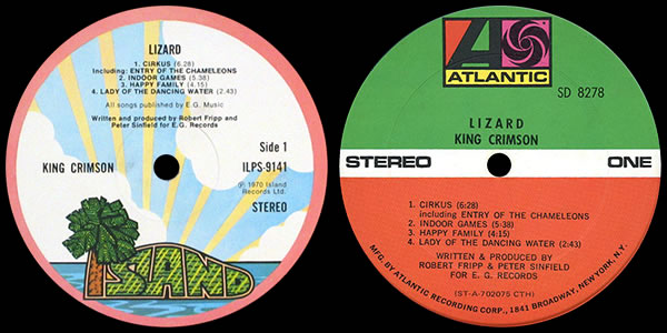 King Crimson Lizard - LP labels