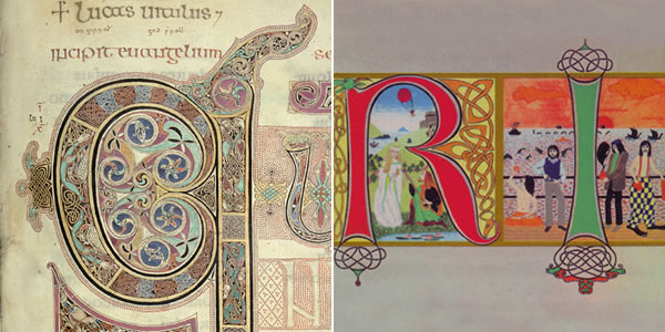 Details from the Lindisfarne Gospels and King Crimson's Lizards