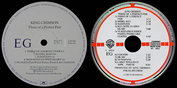 King Crimson Three of a Perfect Pair LP and CD labels