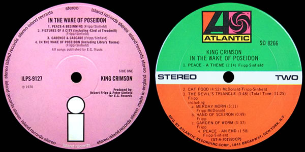 King Crimson In the Wake of Poseidon LP labels
