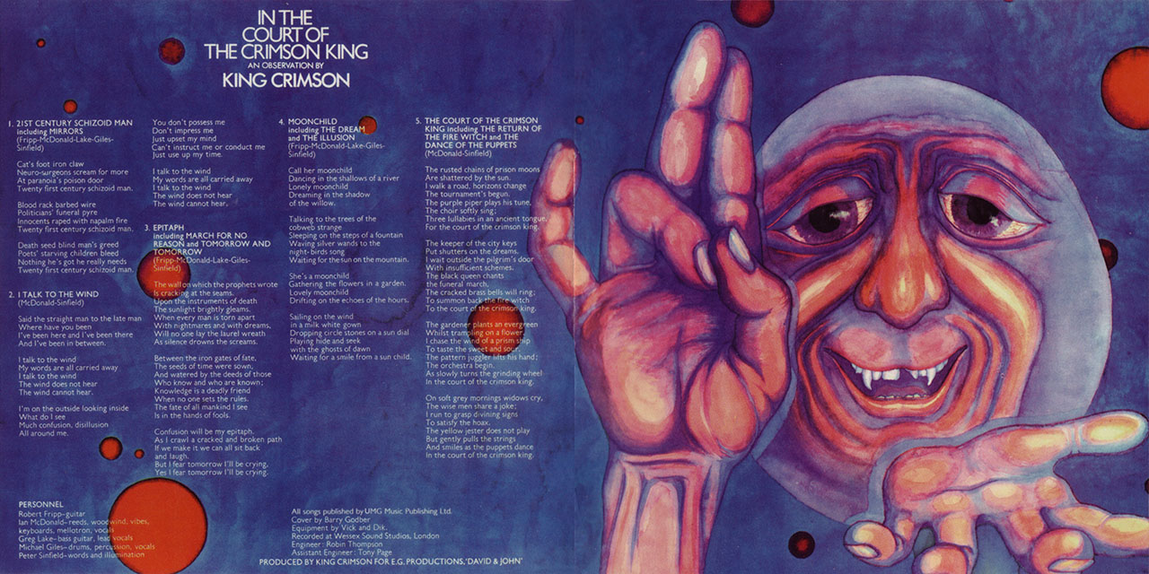 King Crimson In The Court Of The Crimson King gatefold