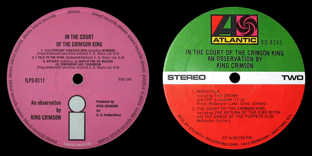 King Crimson In The Court Of The Crimson King LP labels
