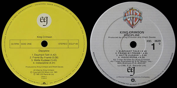 King Crimson Discipline original 1981 UK and US LP labels