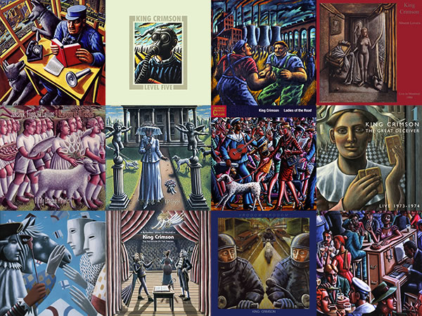 A selection of King Crimson-related album covers featuring artwork by P J Crook