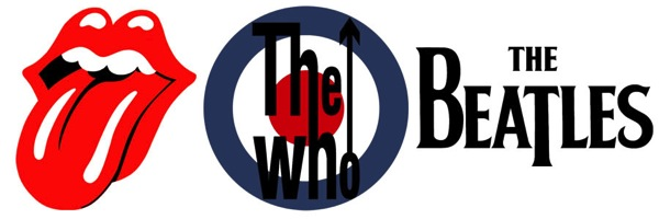 The Rolling Stones, The Who, and The Beatles logos